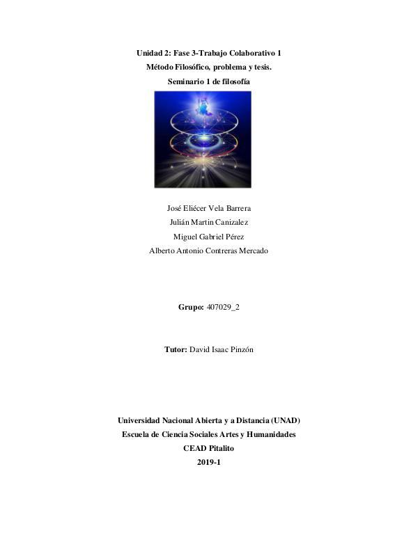 Método filosófico, problema y tesis Trabajo 3 unidad 2 seminario filosófico 1