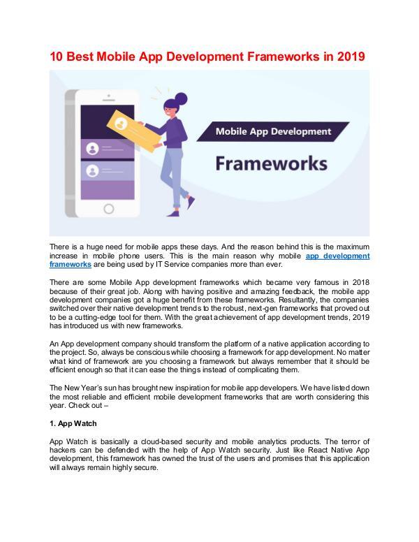 10 Best Mobile App Development Frameworks in 2019