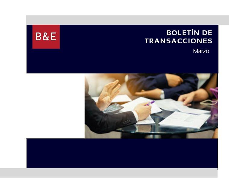 Boletín de transacciones_Marzo Boletín de Transacciones - Marzo de 2019