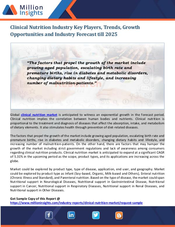 Clinical Nutrition Industry Clinical Nutrition Industry