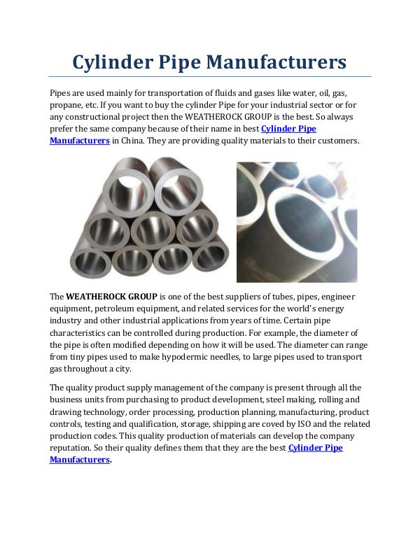 Cylinder Pipe Manufacturers Cylinder Pipe Manufacturers