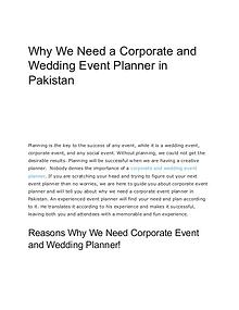 Why We Need a Corporate and Wedding Event Planner in Pakistan
