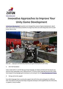 Innovative Approaches to Improve Your Unity Game Development