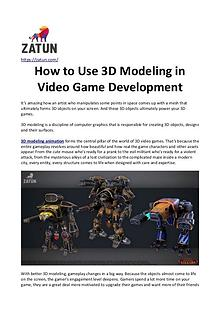 How to use 3D Modeling in Video Game Development