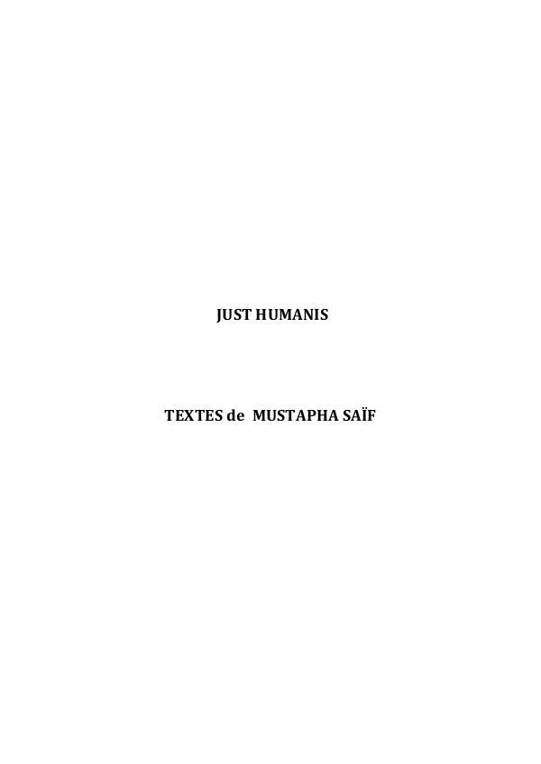 JUST HUMANIS Just Humanis Mustapha SAIF