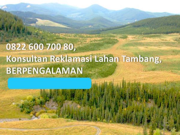 0822 600 700 80, Konsultan Reklamasi Lahan Tambang