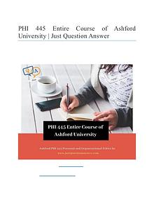 PHI 445 Entire Course of Ashford University | Just Question Answer