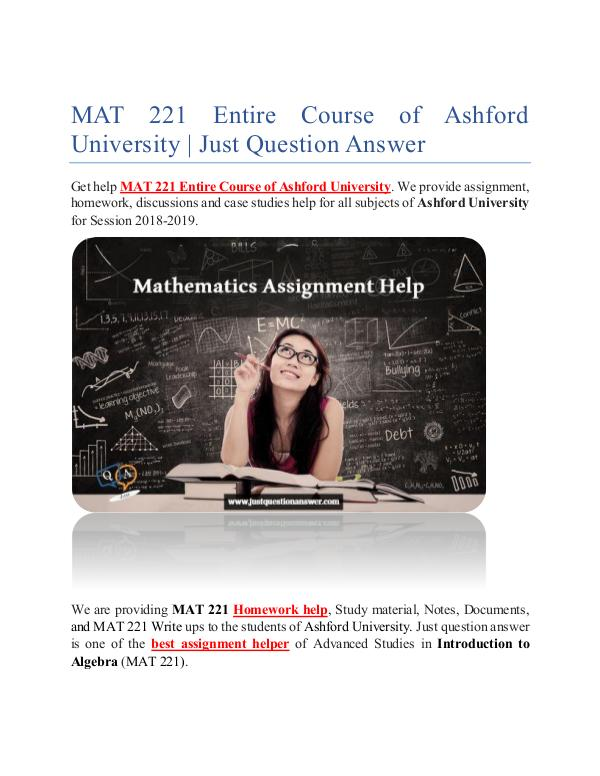 MAT 221 Entire Course of Ashford University | Just Question Answer MAT 221 Entire Course of Ashford University