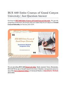 BUS 660 Entire Courses of Grand Canyon University