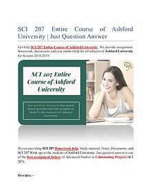 SCI 207 Entire Course of Ashford University