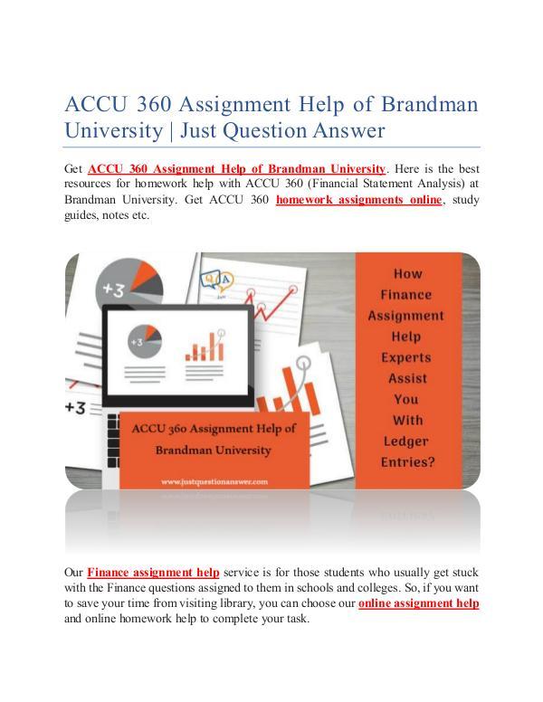 ACCU 360 Assignment Help of Brandman University ACCU 360 Assignment Help of Brandman University