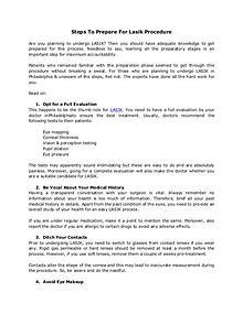 Steps To Prepare For Lasik Procedure