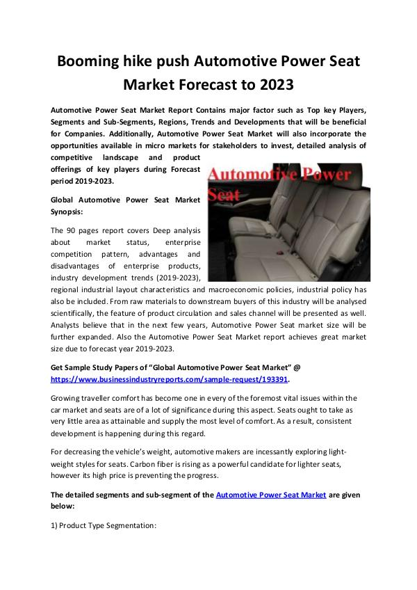 Automotive Power Seat Market 2019-2023