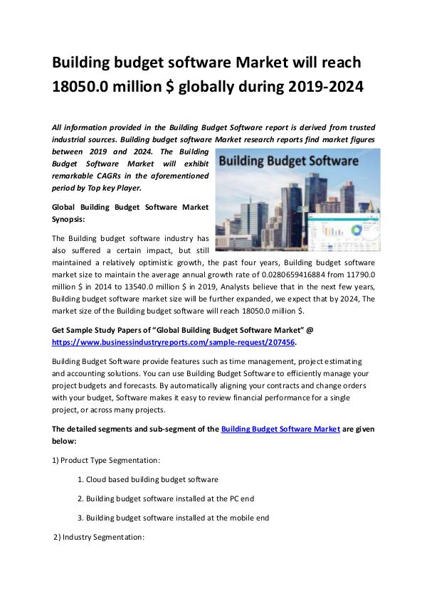 Building budget software Market 2019-2024