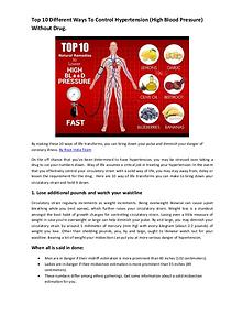 Top 10 Different Ways To Control Hypertension (High Blood Pressure) W