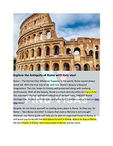 Explore the Antiquity of Rome with Italy visa!