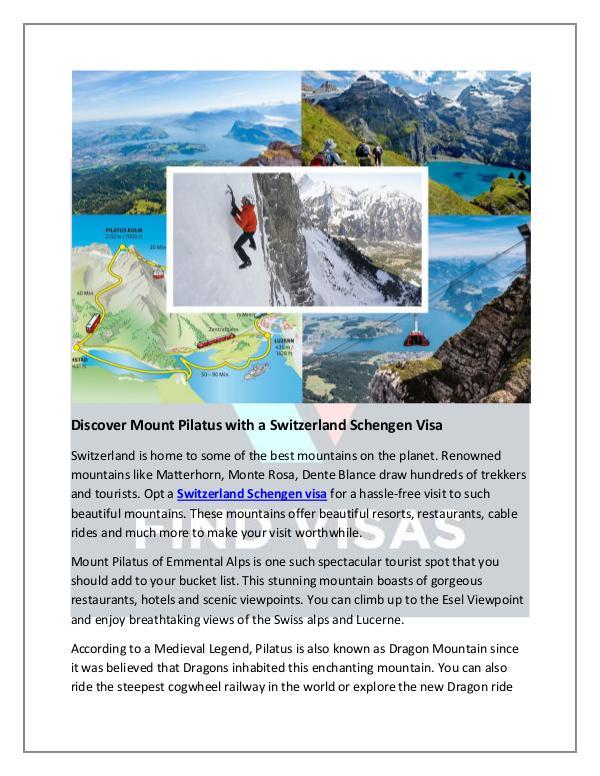 Discover Mount Pilatus with a Switzerland Schengen Visa Discover Mount Pilatus with a Switzerland Schengen