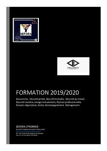 CATALOGUE DES FORMATIONS 2019/2020 SEFORA PROMEO