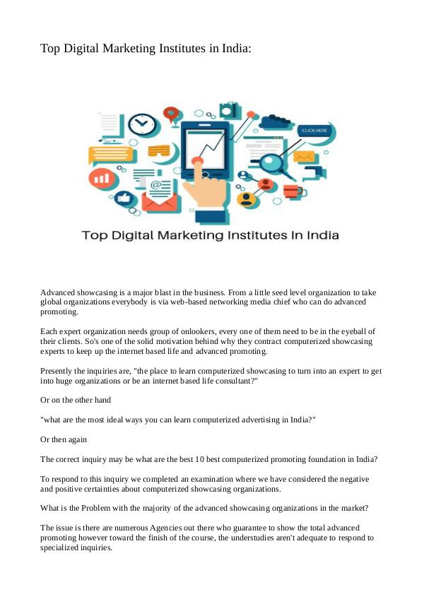 Top Digital Marketing Institutes in India Top Digital Marketing Institutes in India Final