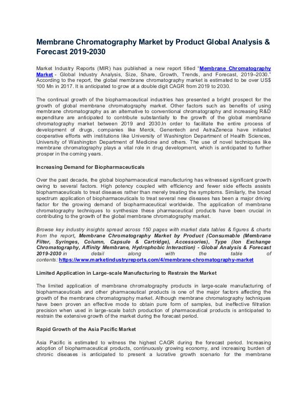 Membrane Chromatography Market Membrane Chromatography Market by Product Global A