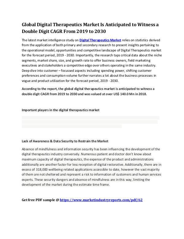 MIR Global Digital Therapeutics Market