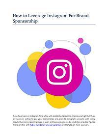 How to leverage Instagram for brand sponsorship