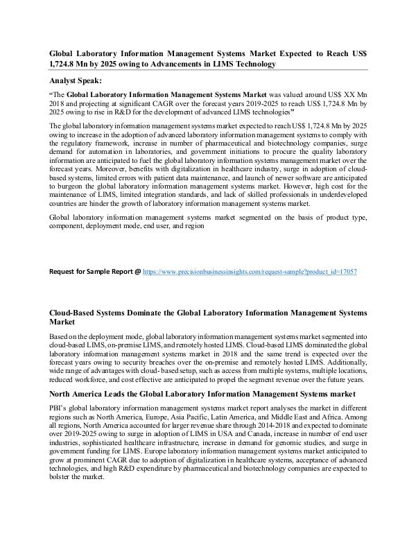 Laboratory Information Management Systems Market Global Laboratory Information Management Systems M