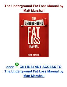 Matt Marshall: The Underground Fat Loss Manual pdf download