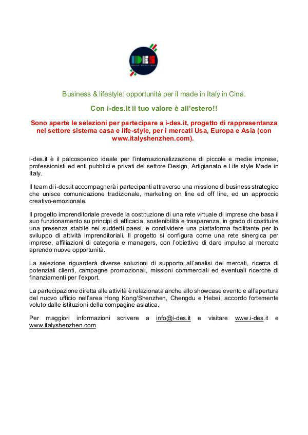 Business internationalization opportunities for Made in Italy comunicato i-des.it
