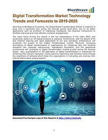 Digital Transformation Market Technology Trends and Forecasts to 2019