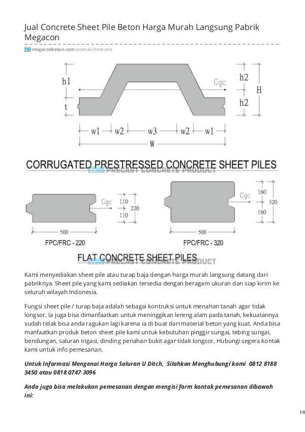 Distributor & Supplier Beton Pracetak - MegaconBeton.com Sheet Pile