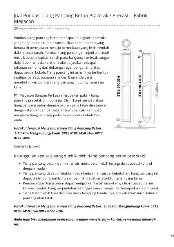 Distributor & Supplier Beton Pracetak - MegaconBeton.com Pondasi Tiang Pancang