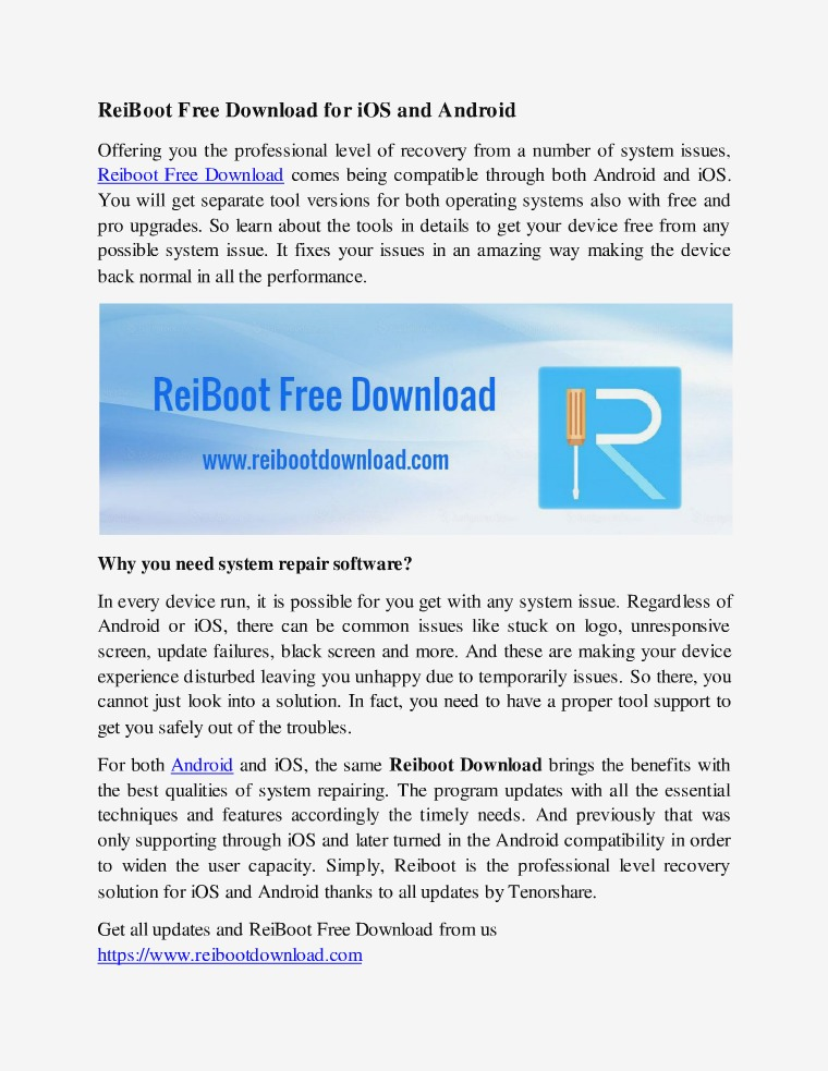 Reiboot Free Download Guide ReiBoot Free Download for iOS and Android
