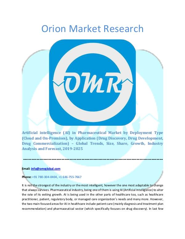 Orion Market Research Report Artificial intelligence in Pharmaceutical Market
