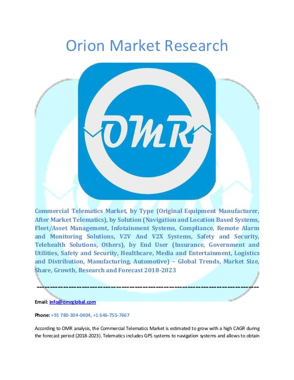 Orion Market Research Report Commercial Telematics Market