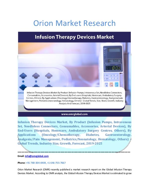 Infusion Therapy Devices Market