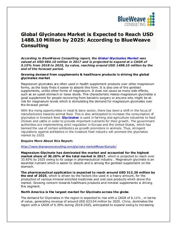 Glycinates Market Growth, Types, Application ,Trends &Forecast 2025 Global Glycinates Market