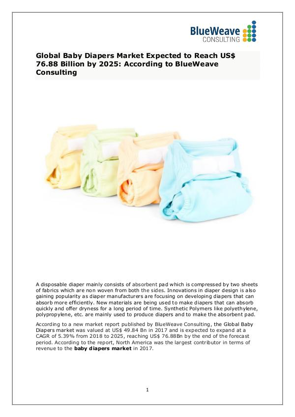Baby Diapers Market Analysis, Size,Growth, Trends and Forecast 2025 Global Baby Diapers Market