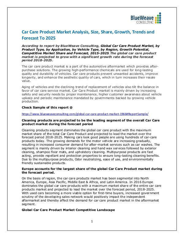 Car Care Products market Size, Demand, Cost Structures, Latest trends Car Care Product