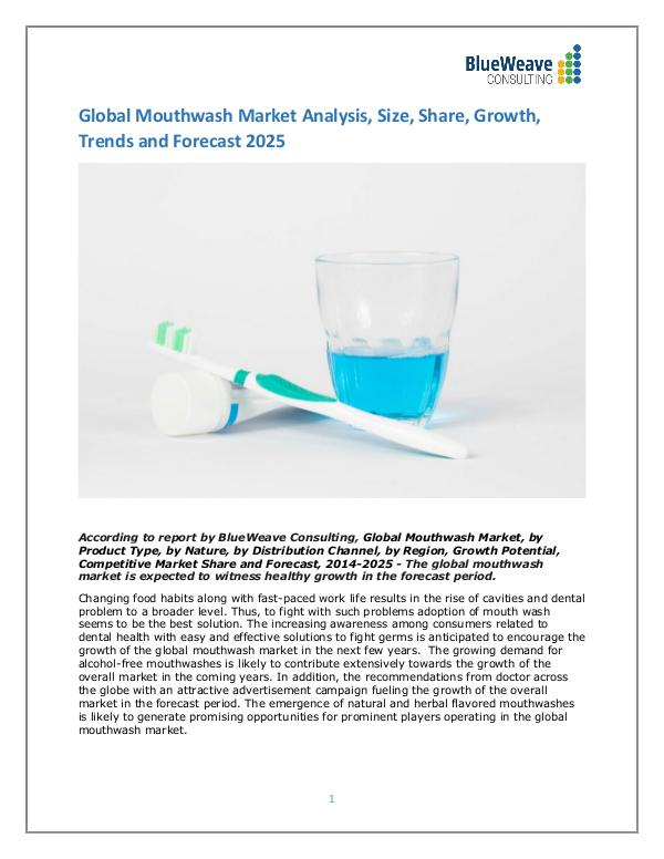 Global Mouthwash Market Analysis, Size, Share, Growth,Forecast 2025 mouthwash Market