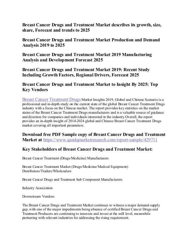 Breast Cancer Treatment Breast Cancer Drugs and Treatment Market
