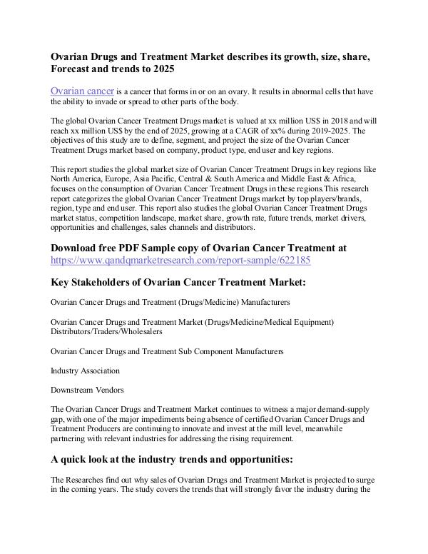 How Deadly Is Ovarian Cancer Ovarian Drugs And Treatment Market Joomag Newsstand