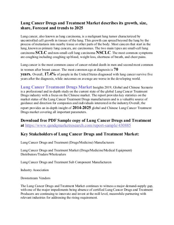 Lung Cancer Treatment Market Lung Cancer Drugs and Treatment Market