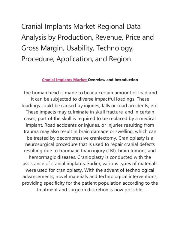 My first Publication Cranial Implants Market
