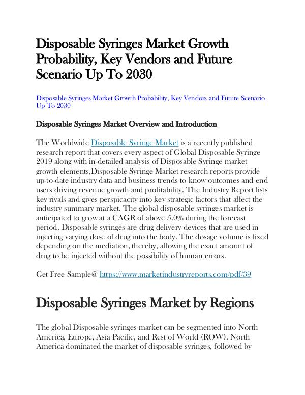My first Publication Disposable Syringes Market
