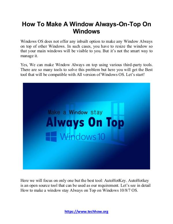 How To Make A Window Always-On-Top On Windows How To Make A Window Always-On-Top On Windows