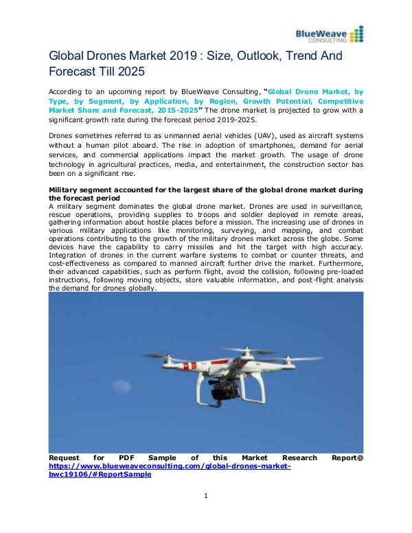 Global Drones Market 2019 : Size,Outlook,Trend And Forecast Till 2025 Drone Market