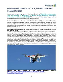 Global Drones Market 2019 : Size,Outlook,Trend And Forecast Till 2025