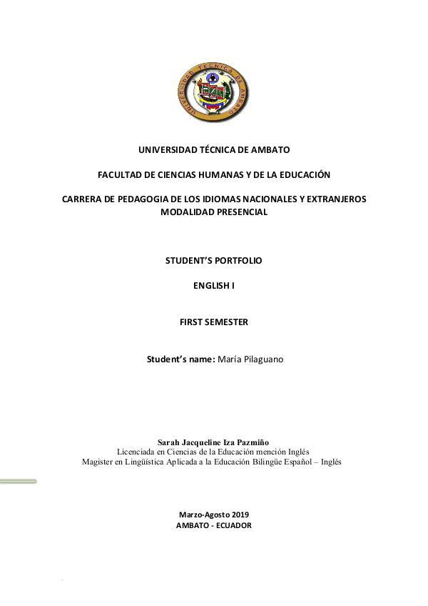 Revista de ENGLISH I PILAGUANO MARÍA- English  I Portfolio.