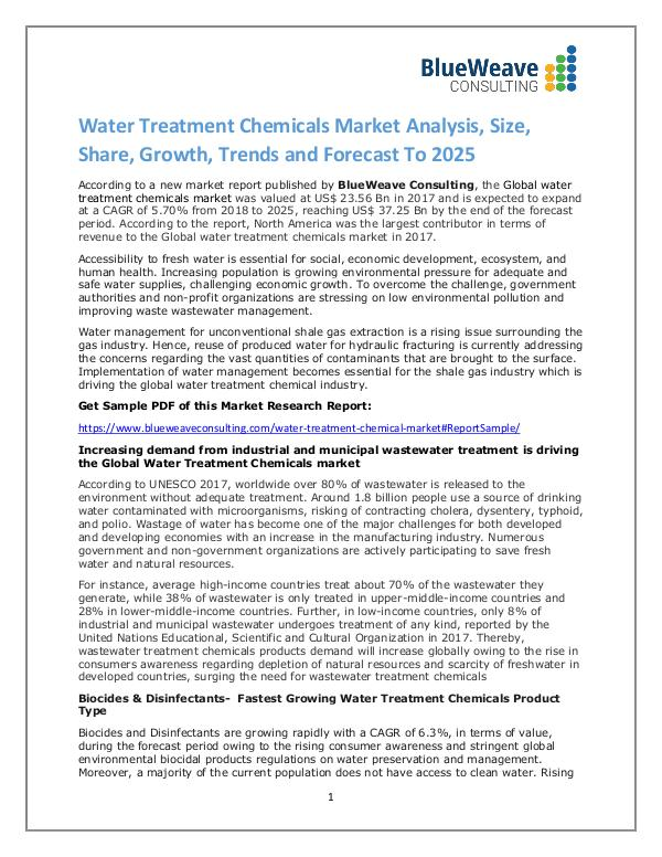 Water Treatment Chemicals Market Analysis,Growth, Trends 2025 Global Water Treatment Chemicals Market